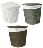 White Brown Olive Wicker Corner Laundry Basket Bin Bathroom Bedroom Storage (CLBROB)